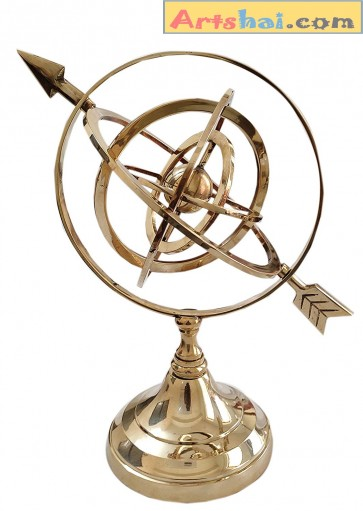 Artshai 29 cm Antique Large Fully Brass Armillary Sphere Engraved Nautical Astrolabe Pack of 1 (Gold)