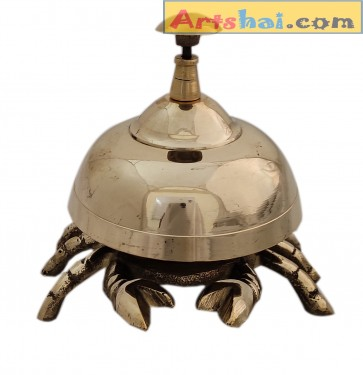 Artshai Antique Brass Crab Design Table Call Bell for Office Desk and Hotels Counter
