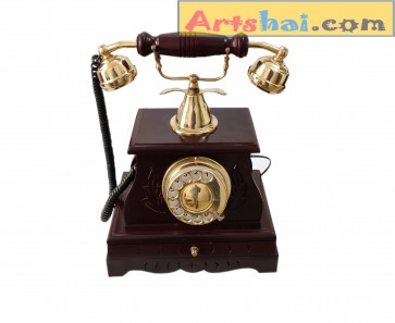 Artshai Wood Handicraft Antique Finish Maharaja Style landline Telephone with Drawer.