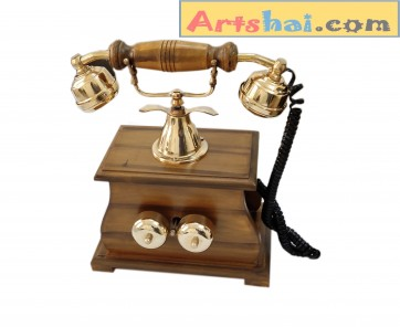 Artshai Handicraft Antique Finish landline Telephone .Maharaja Style with Rotary dial