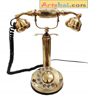 Artshai Antique Style Mid Century Brass Candlestick landline Telephone