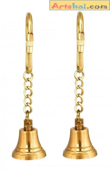 Artshai set of 2 brass bell keychain, ghanti keychain