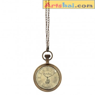 Artshai Antique look ship design pocket watch with long chain. Mens pocket watch. Ideal for gifts
