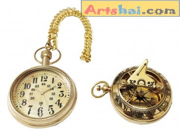 Artshai Combo of Brass Pocket Watch and 2 inch Sundial Compass .Unique Gifts Items