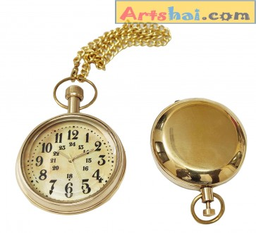 Artshai Beautiful Brass Pocket Watch and Push Button Magnetic Compass Combo, Pure Brass