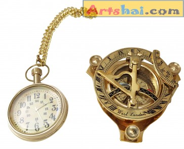 Artshai Brass Combo of Pocket Watch and Sundial Compass 3 inch Golden sunclock Unique Gifts