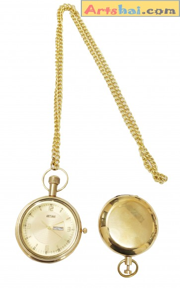 Artshai Brass Pocket Watch with Date and Day Calendar Feature and Push Button Magnetic Compass