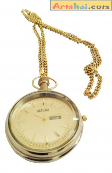 Artshai Pocket Watch Day and Date Cum Table Clock with sheesham Wood Stand, Antique Style Gifts