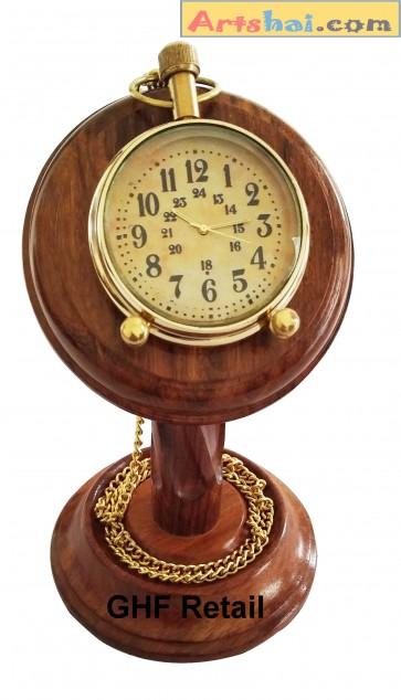 Artshai Antique Pocket Watch Cum Table Clock with sheesham Wood Stand, Unique Gifts