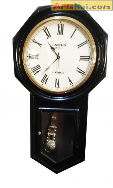 Artshai Antique Style Black Pendulum Wall Clock 32 inch Height and 12 inch dial