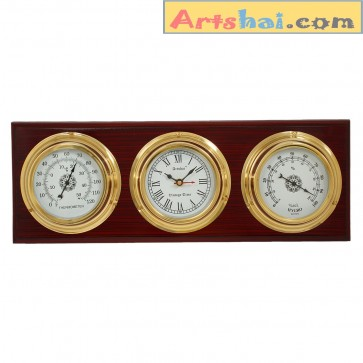 artshai antique style wall clock with temperature and humidity meter