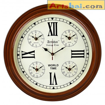 Artshai Antique look wall clock with world time. 5 Countries time.Wooden