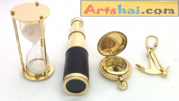 Artshai Vintage Collection of brass telescope + 1 minute brass hourglass + Magnetic Compass + Brass Anchor Keychain
