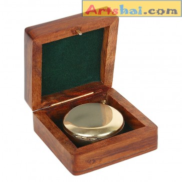 Artshai Push button magnetic compass with Sheesham Wooden Box, Unique Gifting idea.Compass with wooden case.