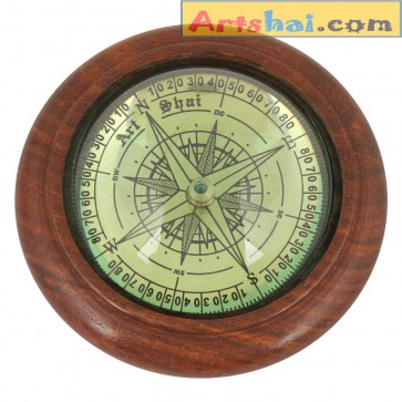 Artshai Big 4 inch size Magnetic Compass cum paper weight. Wooden handicraft base with Round top glass