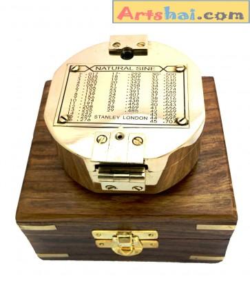 Artshai Antique look geologist brass brunton compass with mirror and wooden box