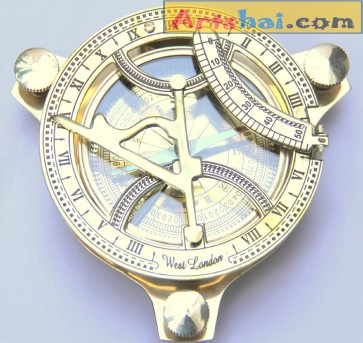 Artshai Brass Sundial Clock Compass, 4 inch, beautiful look, Antique look, Sun Clock