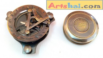 Artshai set of 1 Antique look Sundial Compass + 1 Magnetic Compass. Quality brass