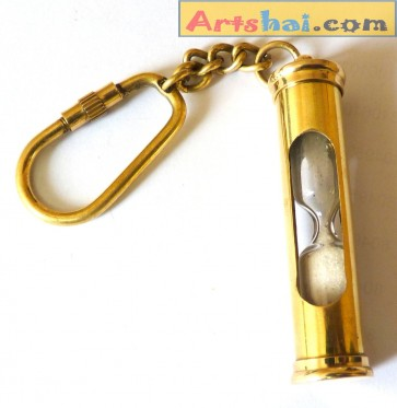 Artshai Brass Hourglass Keychain
