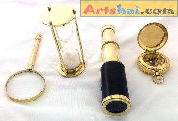 Artshai Collection of hourglass, Magnifying Glass, Telescope and Compass