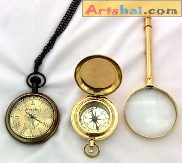 Artshai Combination of Pocket Watch + Magnetic Compass and Magnifying Glass, Quality Brass products