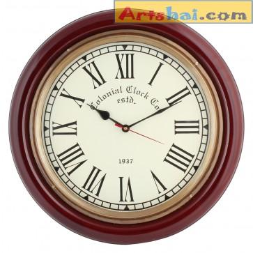 Artshai BIG 16 inch Handcrafted  Wall clock, Antique/Vintage look, Brass and Wooden material.Artshai705