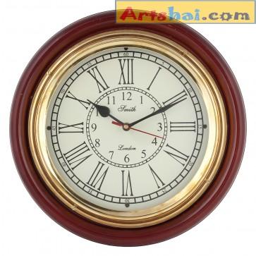 Artshai Antique Look Wall Clock, 12 inch Brass and Wooden