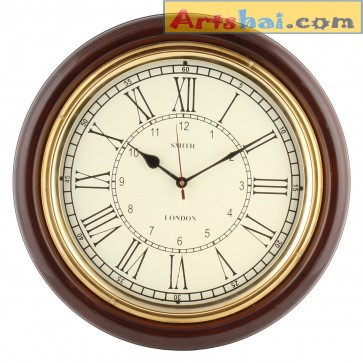 Artshai 16 Inch Big Wall Clock For Living Room And Office. Antique Look,Brass And Wooden, Roman Numbering