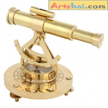 Artshai Full Brass Alidade with Magnetic Compass. Antique look Nautical décor and gifting