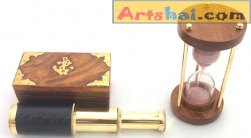 Artshai Nautical décor combo of 3 minute hourglass and telescope with wooden box, Artshai899
