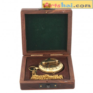 Artshai Golden Sundial design Pocket watch with long chain and box