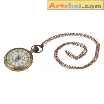 Artshai Antique look Queen pocket watch with chain