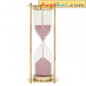Artshai 3 minute golden brass sand timer, Antique style