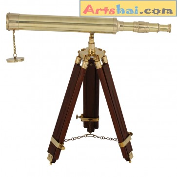 Artshai 16 inch brass telescope with wooden tripod stand