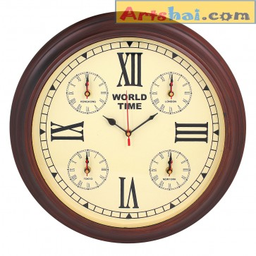 Artshai World time clock. 5 clocks in one. Antique style with Coffee  colour base
