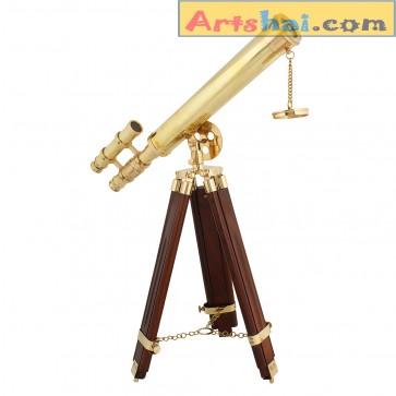 Artshai 18 inch double barrel brass telescope wih wooden tripod stand