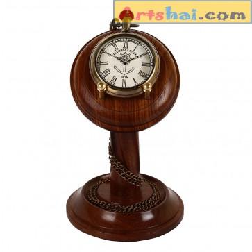 Artshai Antique look Pocket watch cum table clock, Victoria London design. Sheesham wood stand