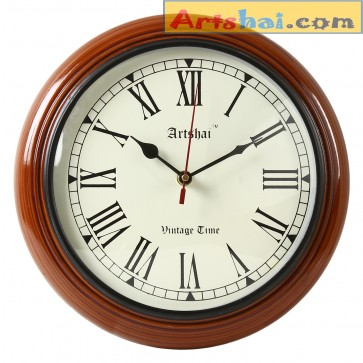 Artshai 10 inch Antique look round wooden wall clock for home and offices
