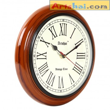 Artshai 10 inch Antique look round wooden wall clock,High quality movement
