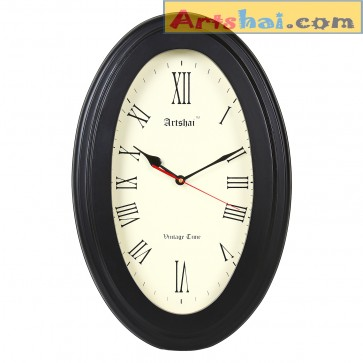 Artshai premium Oval shape 18 inch wall clock. Brilliant black colour, high quality movement, Antique look