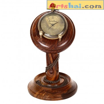 Artshai Pocket watch cum table clock with sheesham wood stand.