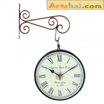 Artshai vintage look 8 inch station clock, anitque look 2 side clock, copper finish