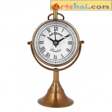 Artshai Antique design Analog desk table clock made from pure brass