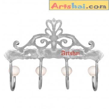 Artshai Antique silver Brass Coat 4 Hook Wall Hanger