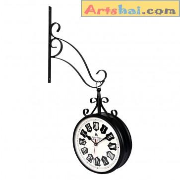 Artshai 8 inch designer Station Clock, Black colour, High quality 2 side clock