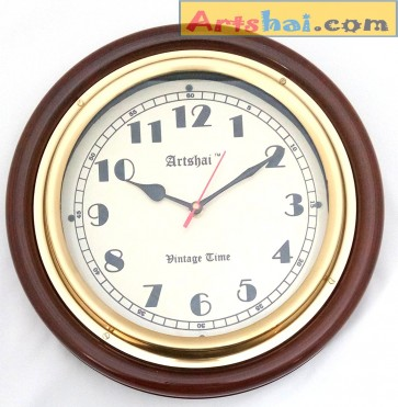Artshai 12 inch handmade antique style wall clock, Made from wood and brass,