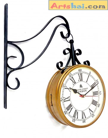 Artshai metal Station Clock, 8 inch station clock with quality movement,2 side clock