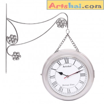 Artshai Antique style 2 side Iron Metal Wall Clock. High quality Chain station clock