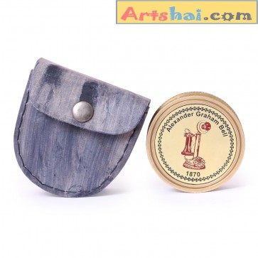 Artshai Alexandar Graham Bell Magnetic Compass with leather case