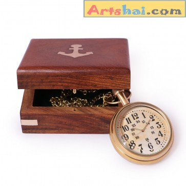 Artshai Pocket watch with wooden box, Antique style